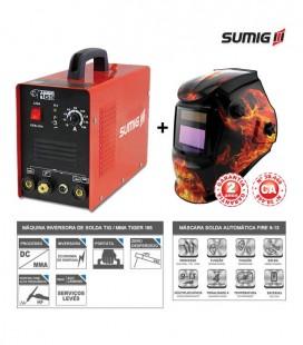 Inversora de Solda TIG / MMA TIGER 165 + Máscara de Solda Automática 9-13 Fire - Sumig