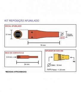 Bico de Contato 0,80 mm Especial para Tocha MIG TME206 (JA085)