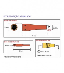 Bico de Contato 1,20 mm Especial para Tocha MIG TME206 (JA088)