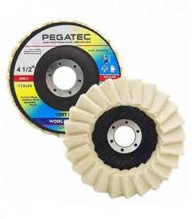 """Disco Flap Feltro Lã Pegatec 4.1/2"""" 115mm X 22,23mm Polimento Inox Metais não Ferrosos"""