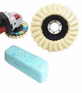 Polimento e Lustro de Aço Inox c/ 2 Peças (1 Disco Flap Feltro, 1 Massa) - Kit 2
