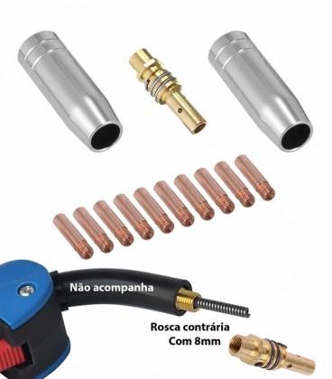 KIT da Tocha MIG MB 15AK / TME-105 com 13 Pç (2 Bocal, 1 Difusor, 10 Bico de Contato 0,9MM)