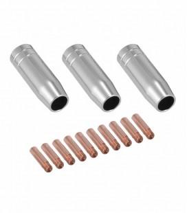 KIT da Tocha MIG MB 15AK / TME-105 com 13 Pç (3 Bocal, 10 Bico de Contato 0,9MM)