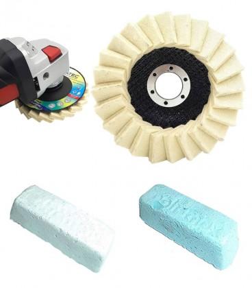 Polimento e Lustro de Alumínio, Latão, Aço Inox c/ 4 Peças (2 Disco Flap Feltro, 2 Massas) - Kit 5