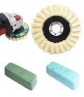 Polimento e Lustro de Aço Ino e Platina c/ 4 Peças (2 Disco Flap Feltro, 2 Massas) - Kit 28