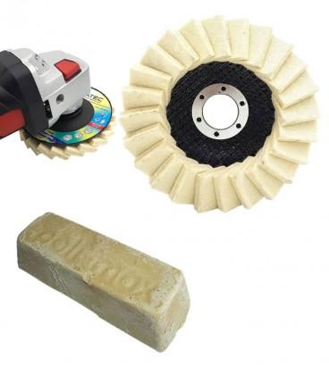 Polimento e Lustro de Acrílico c/ 3 Peças (2 Disco Flap Feltro, 1 Massa) - Kit 9