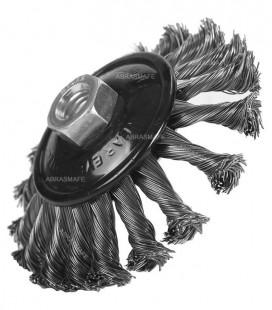 """Escova Aço Rotativa Cônica Trançada Esmerilhadeira 115mm X 13mm (4,5""""x1/2"""") M14X2 Pegatec"""