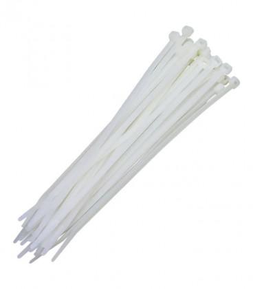 Abraçadeira de Nylon 4.8 x 300mm Branco com 100 Unidades