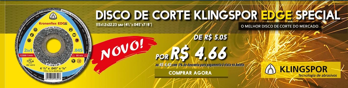 Promoção! Disco de Corte Klingspor EDGE 115x1,2x22,23 só R$ 4,48